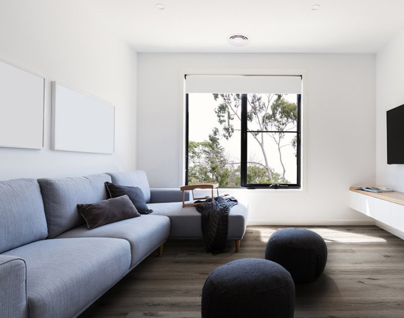 simple family room with LVT flooring
