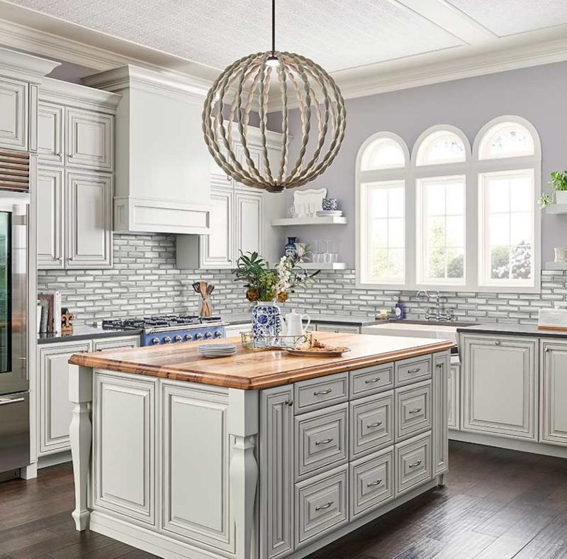 gorgeous subway tiled kitchen