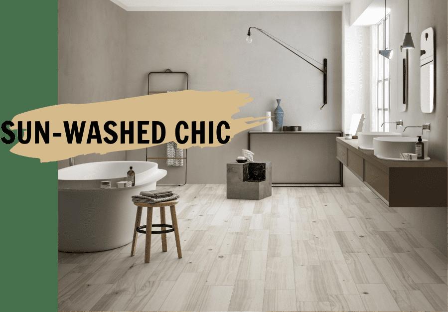 porcelain wood look tile in bathroom