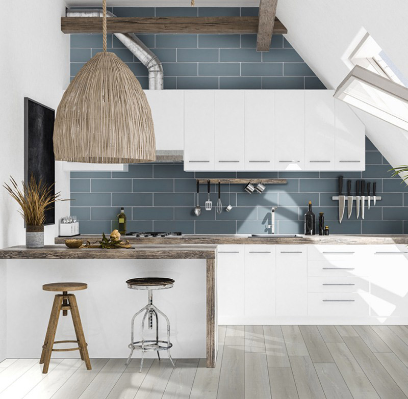 Tropical Kitchen With Wood Look Vinyl Tile