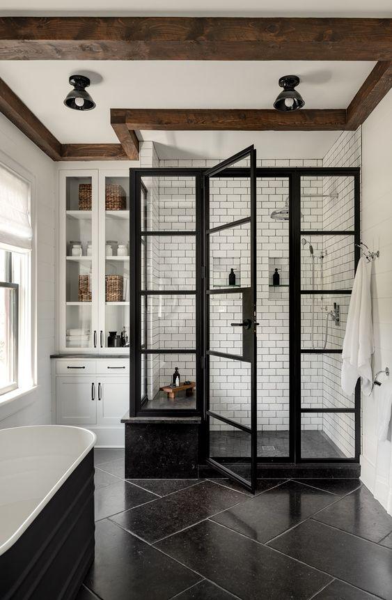 modern farmhouse bathroom with white subway tile