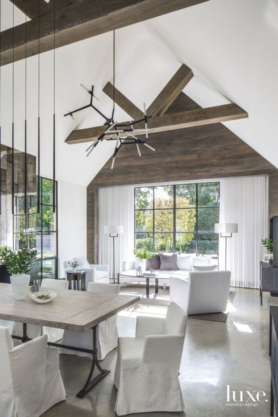 modern farmhouse living and dining room