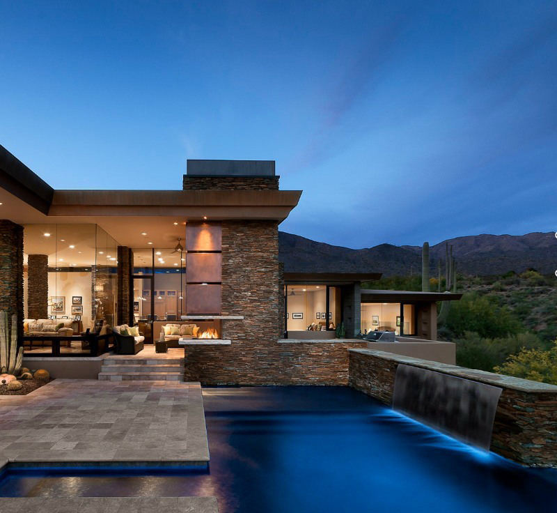 pool design with stacked stone panels
