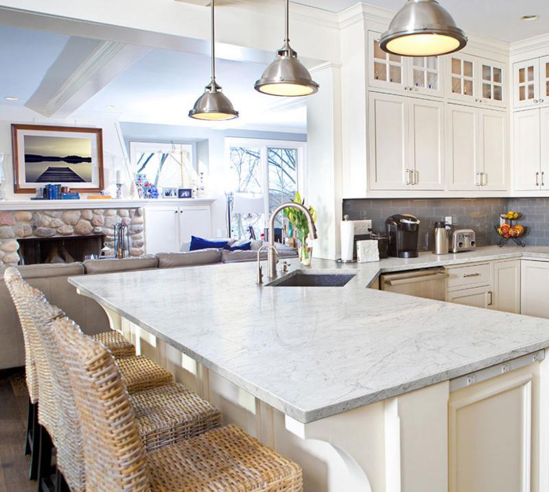 marble look porcelain kitchen countertop