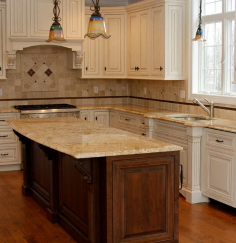gold granite countertop in kitchen