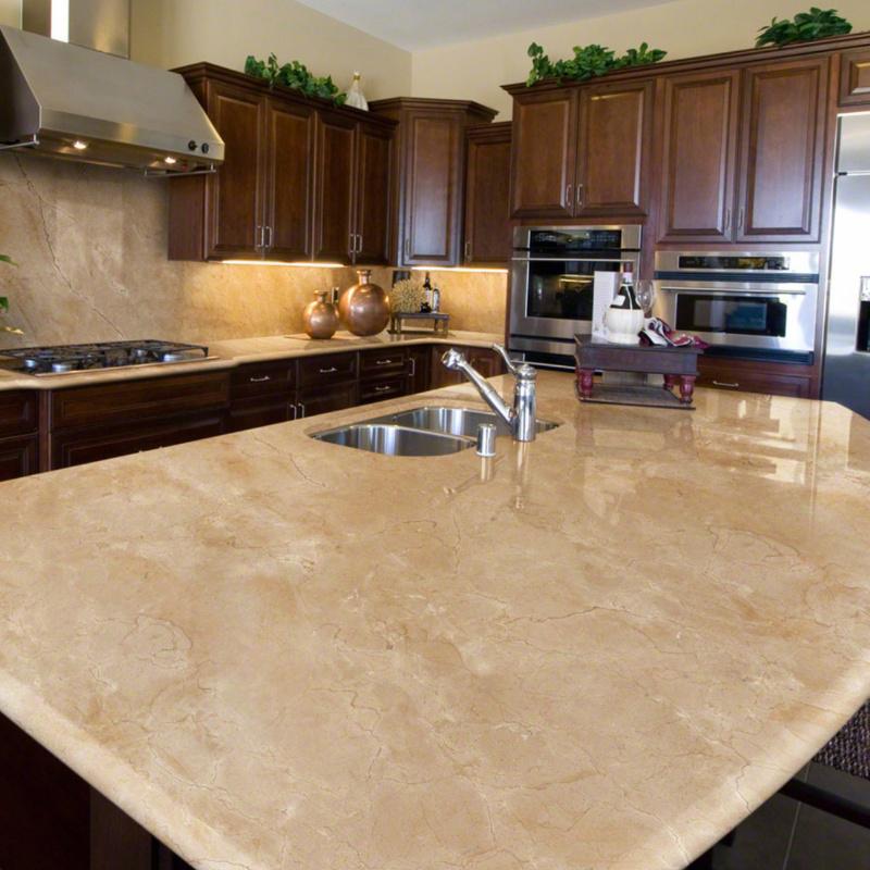 crema marfil marble look countertop