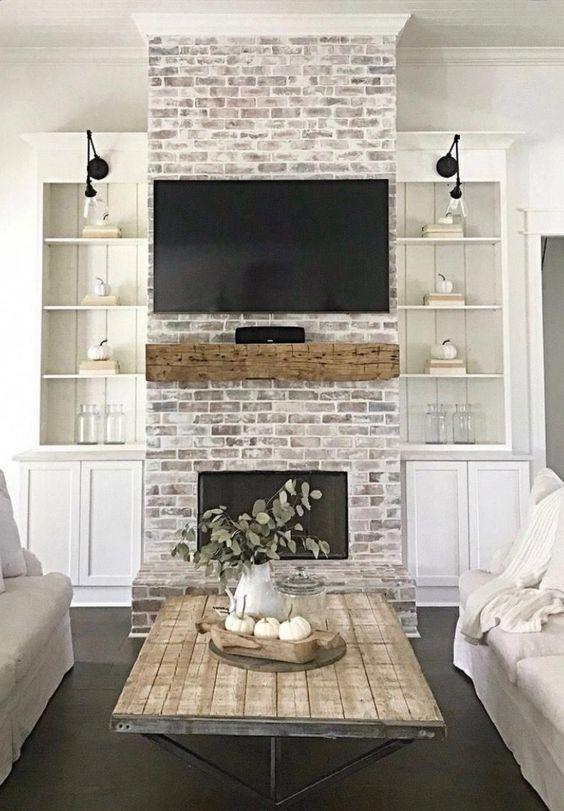 brick look fireplace