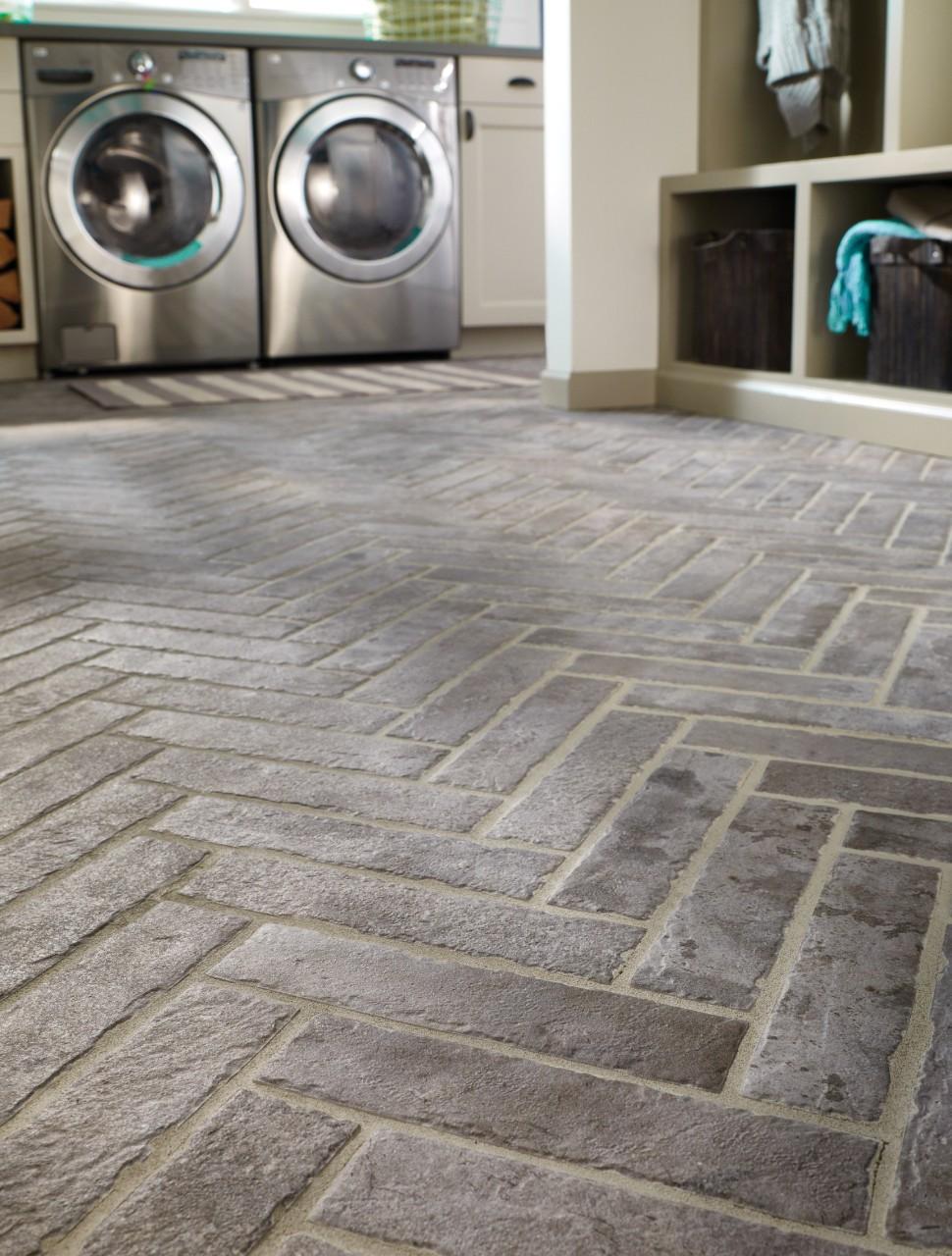 brick look floor in laundry room