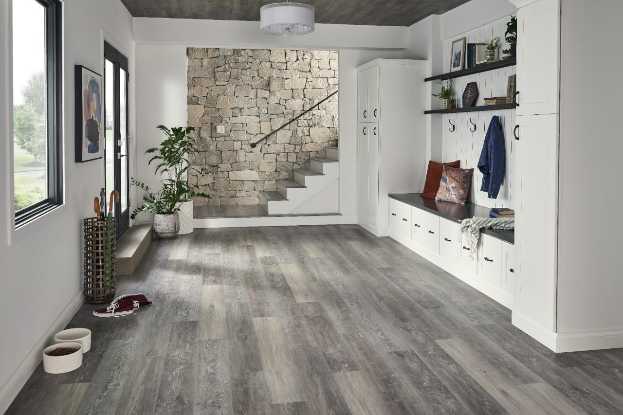 modern mudroom with vinyl tile