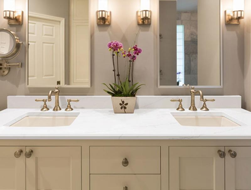 gorgeous quartz bathroom countertop