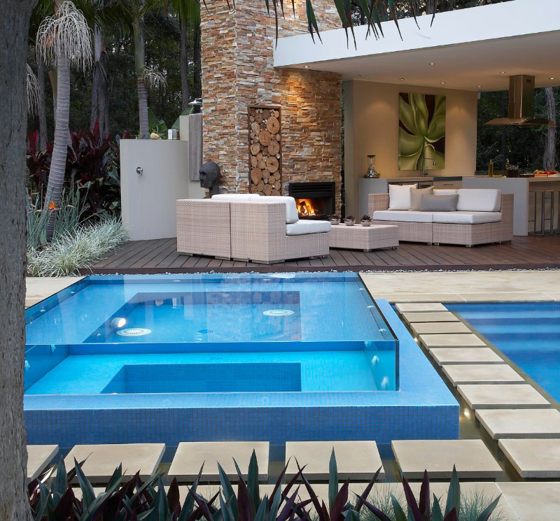 outdoor living with stacked stone