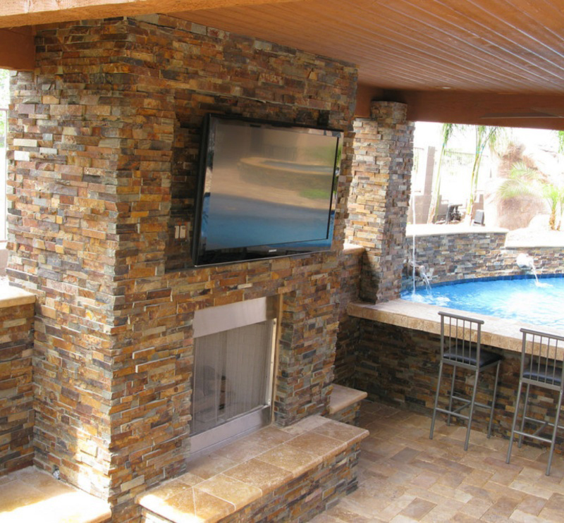 stacked stone used on pool