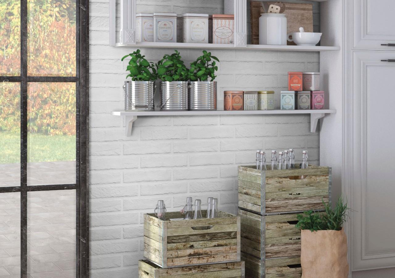 white brick wall in kitchen
