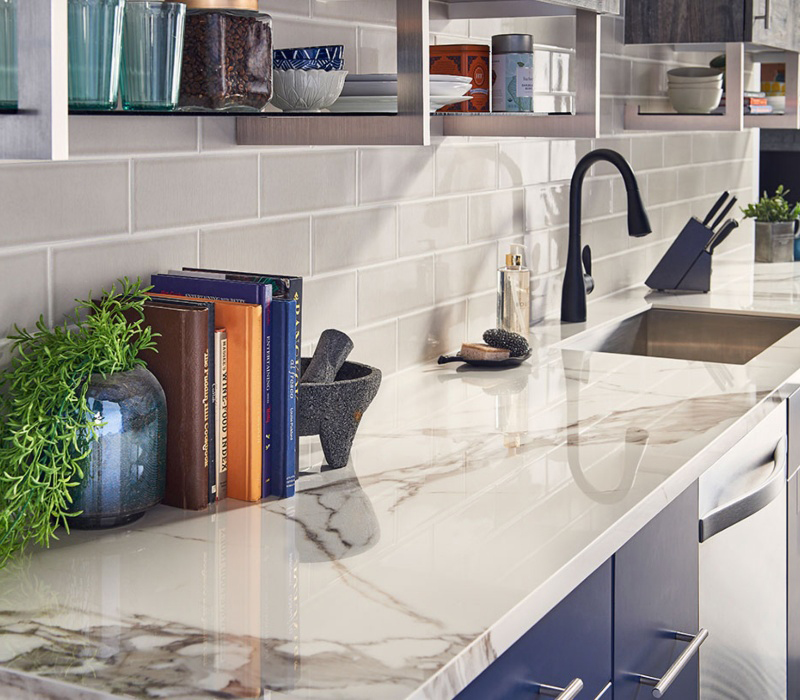 marble look countertop in kitchen