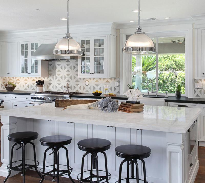 geometric marble backsplash tiles