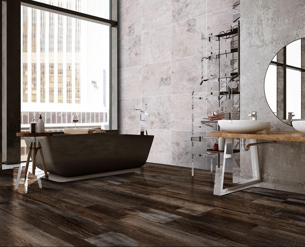 dark wook look vinyl flooring in bathroom
