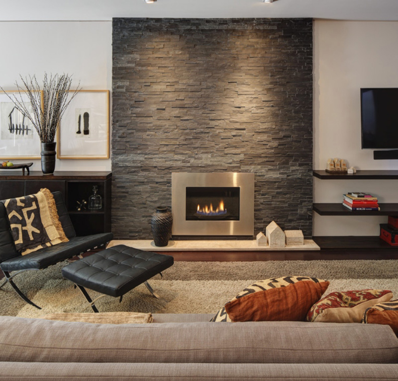 cozy stacked stone fireplace