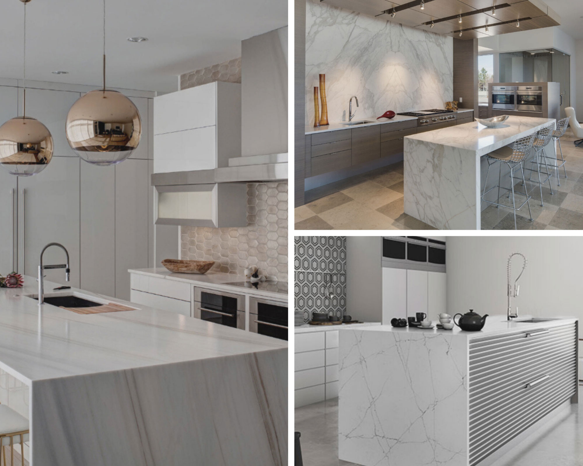 see double with book matched quartz countertops