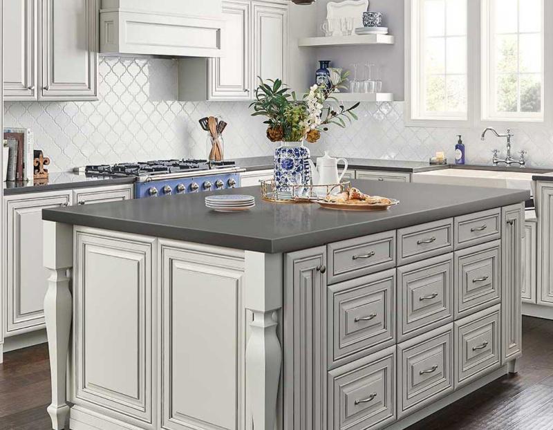 dark quartz kitchen island