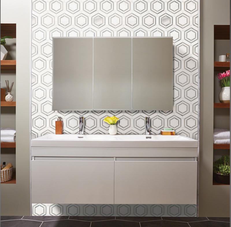 gray and white geometric backsplash tiles