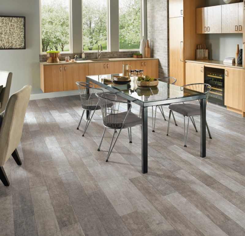luxury vinyl tile floor in a kitchen