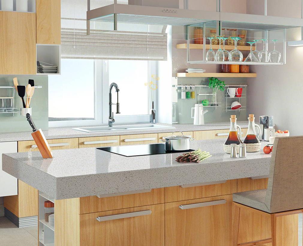 quartz countertop island in kitchen