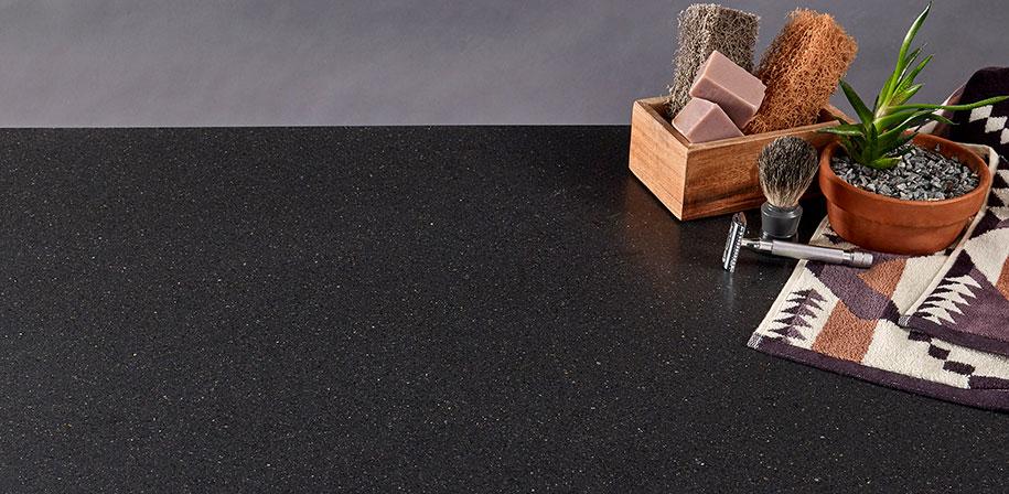 rich black quartz countertop