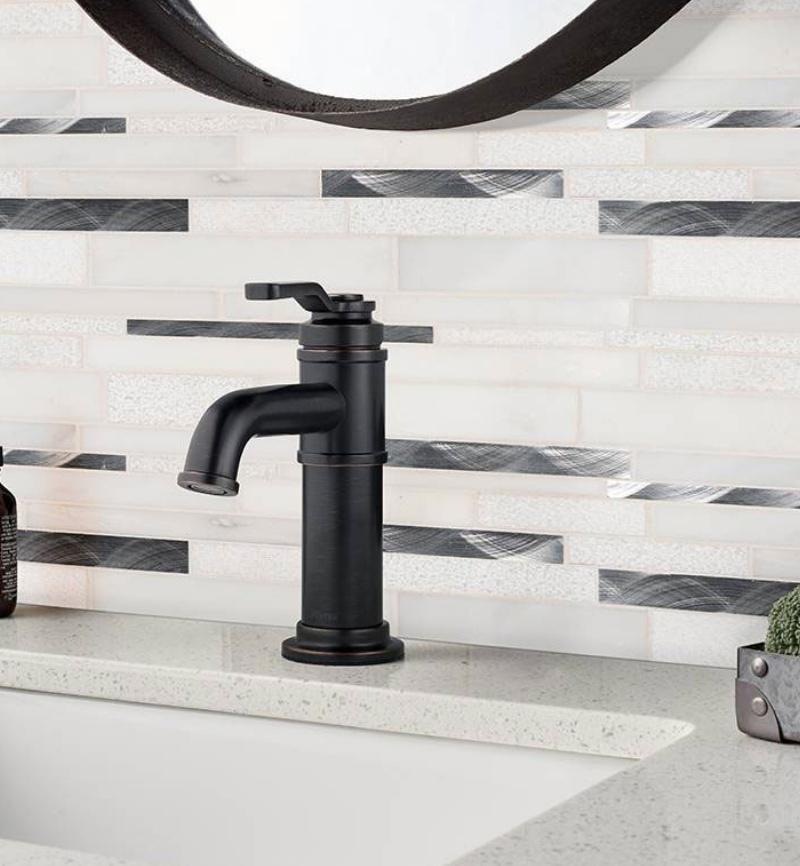 black and white bathroom backsplash