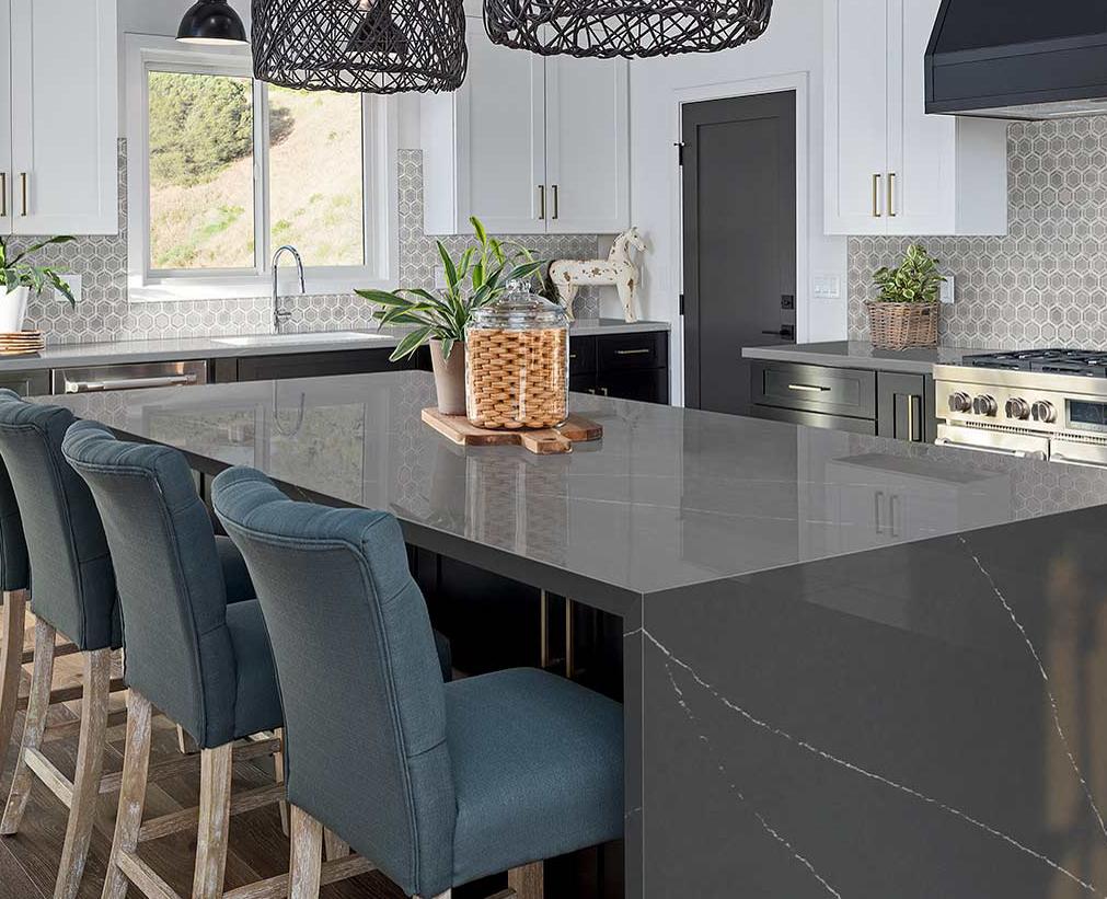 quartz countertop kitchen waterfall island