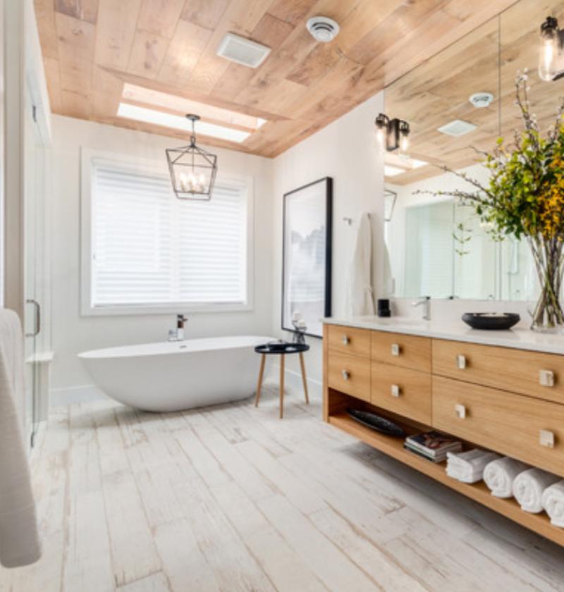 luxury vinyl tile floor in a bathroom
