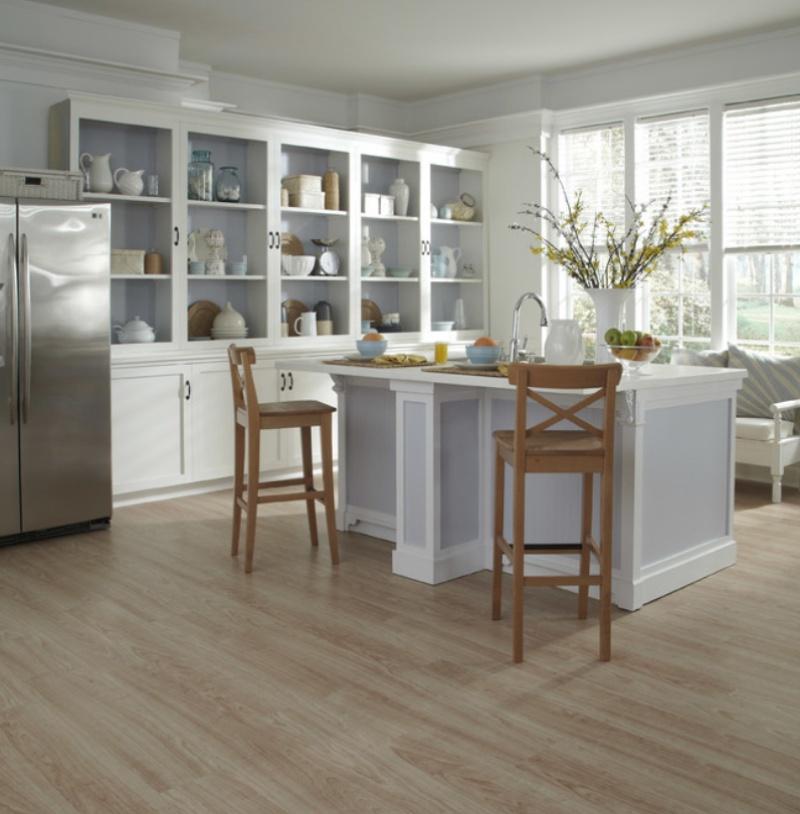 wood look vinyl flooring in the kitchen