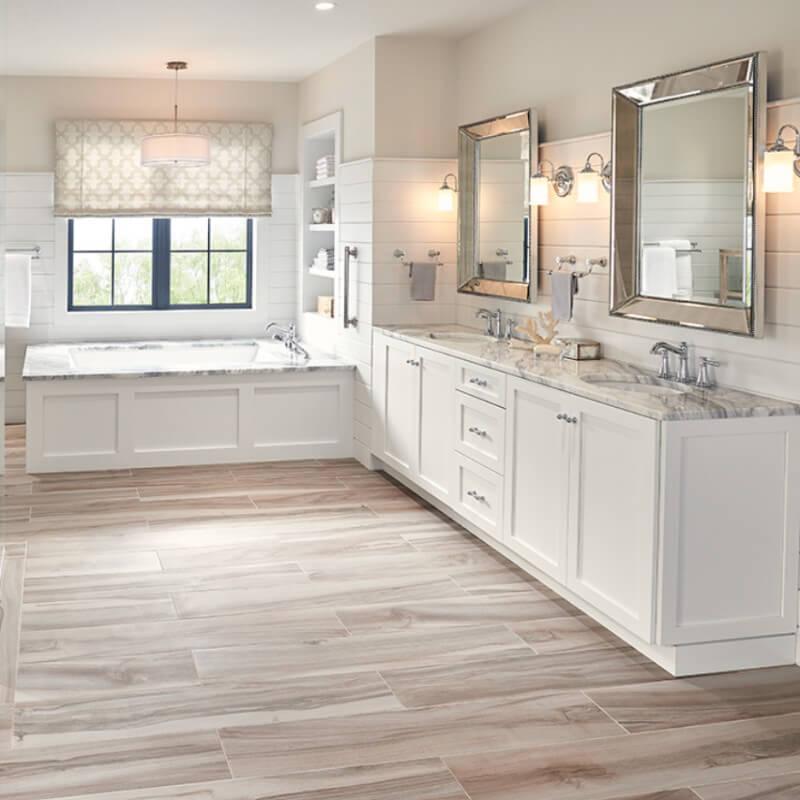 wood look tile flooring in bathroom