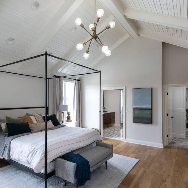 luxury vinyl wood tile in beach style bedroom
