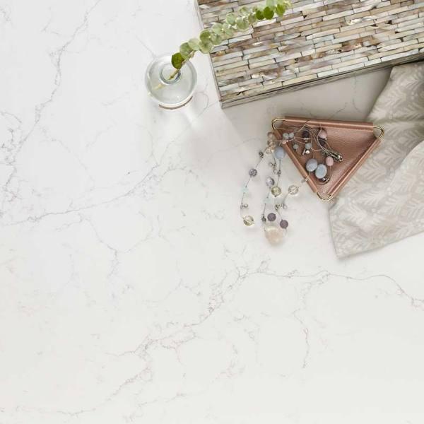 whisper vein marble look quartz closeup