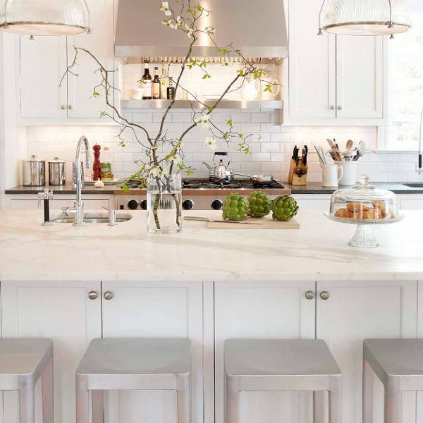 white marble quartz with grey veining countertop