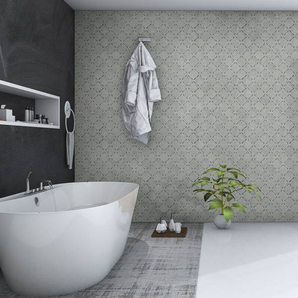 marble wall tile in black and muted bathroom