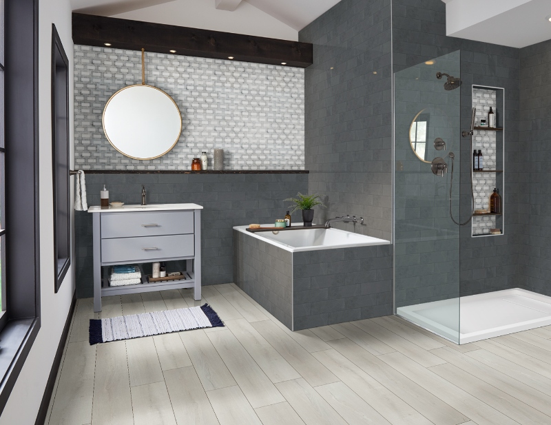 porcelain tile flooring in bathroom