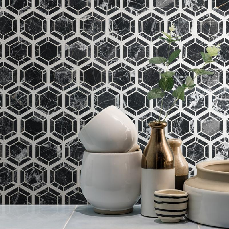 polished mosaic backsplash with dramatic modern look