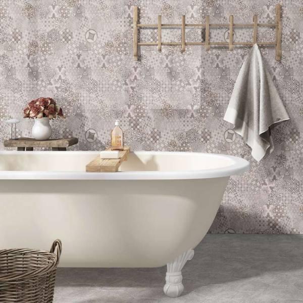 french quilt pattern porcelain wall tile bathroom