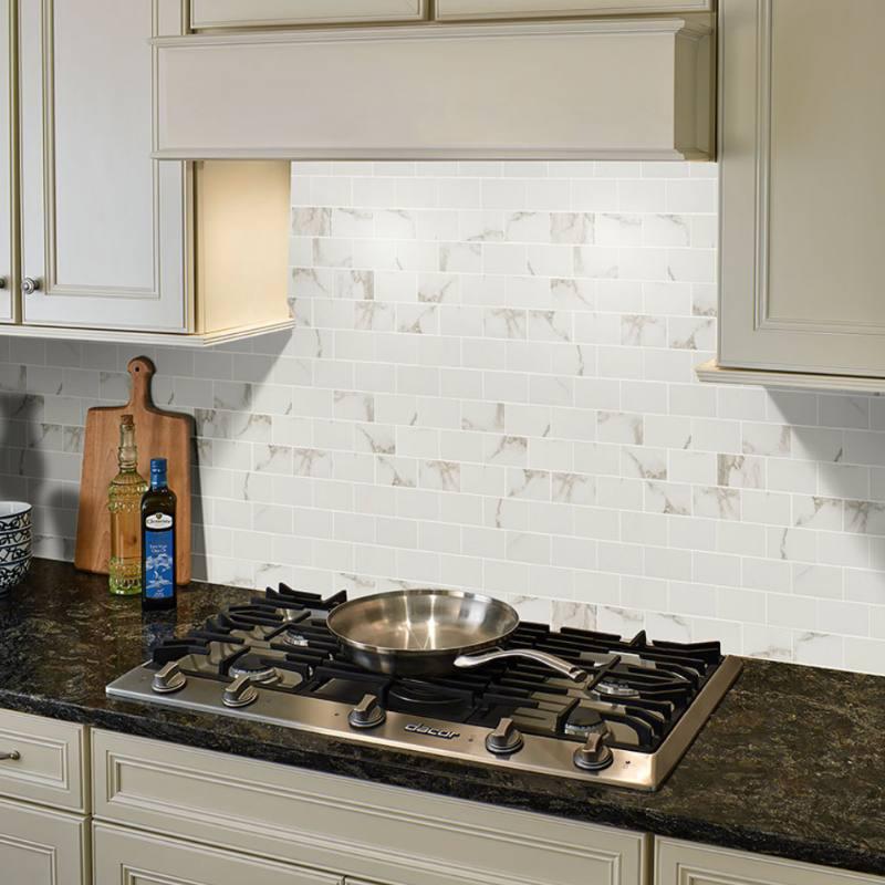 marble look porcelain tile backsplash