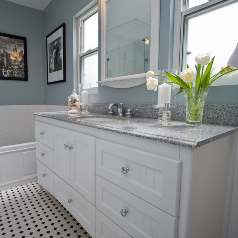 gleeming granite counter durable in bathroom