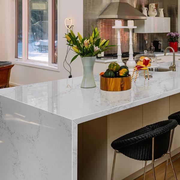 waterfall edge white quartz countertop