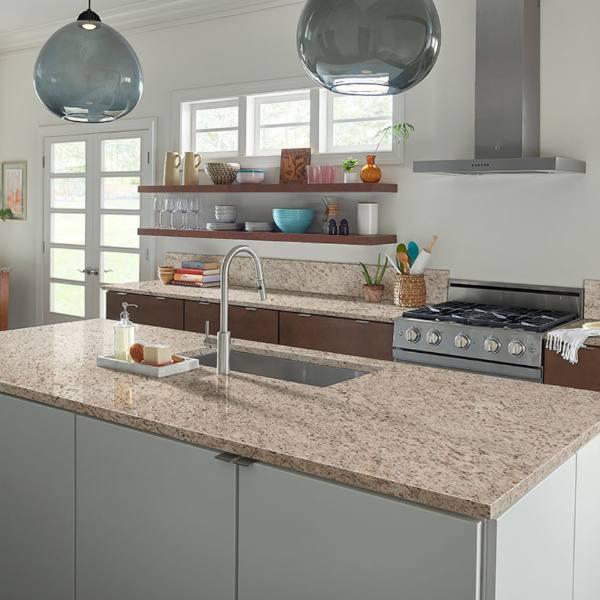 sand colored granite with white countertops