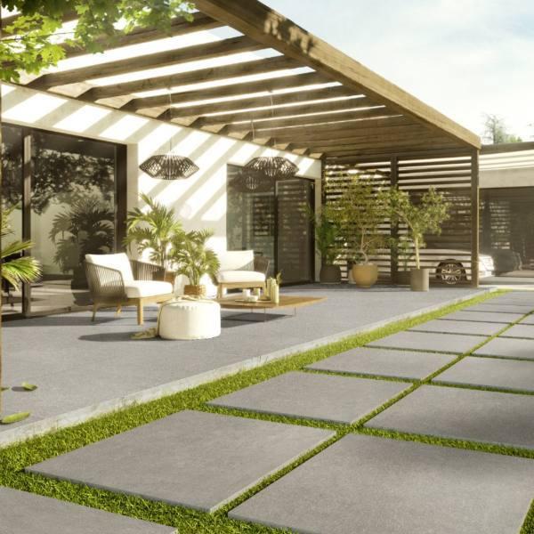 outdoor patio with concrete look porcelain tile