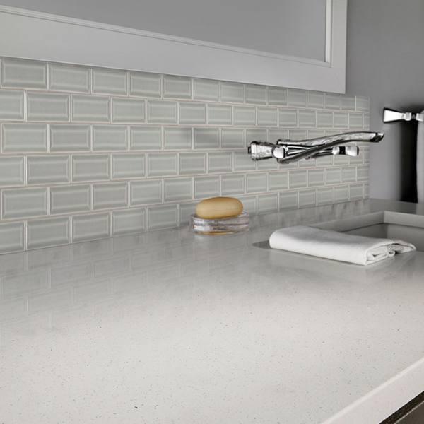quartz countertop with subway tile backsplash