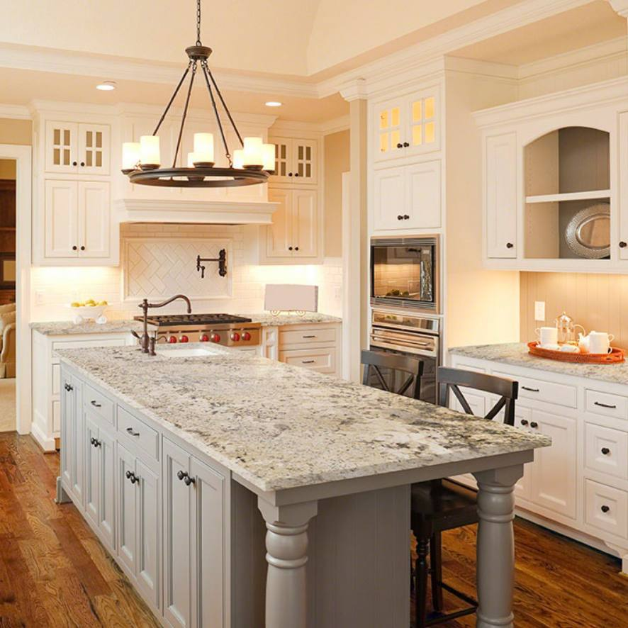 white traditional kitchen with classic granite