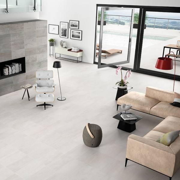 white metal look tile flooring in living room