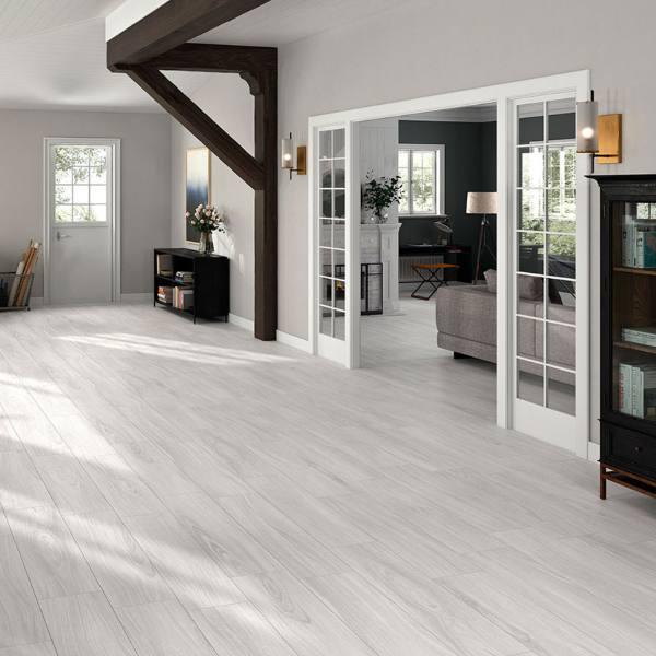 silver color porcelain plank flooring