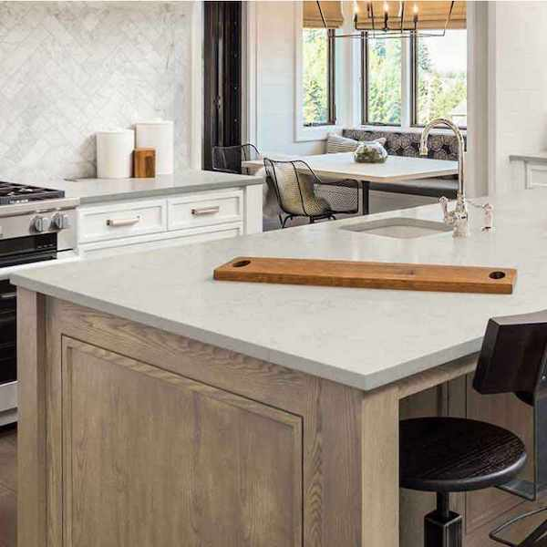 marble look quartz kitchen island