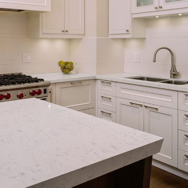 speckled and veined marble look quartz counterop